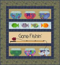 Gone Fishing Boy Quilt Pattern by Cute Quilt Patterns at KayeWood.com. This fun quilt comes complete with 6 fish bowls, a trusty fishing pole, and a baited hook appliques.  Any little fisherman is sure to come home happy after he's gone fishin'! http://www.kayewood.com/item/Gone_Fishing_Quilt_Pattern/3552 $9.00