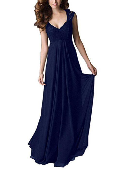 MABELER Damen V-Ausschnitt Spitzen Brautjungfer Cocktailkleid Chiffon Faltenrock Langes Abendkleid Gr.S-XXL