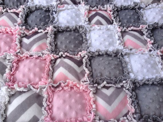 Unique Chevron Puff Rag Quilt In Pinks Grey By