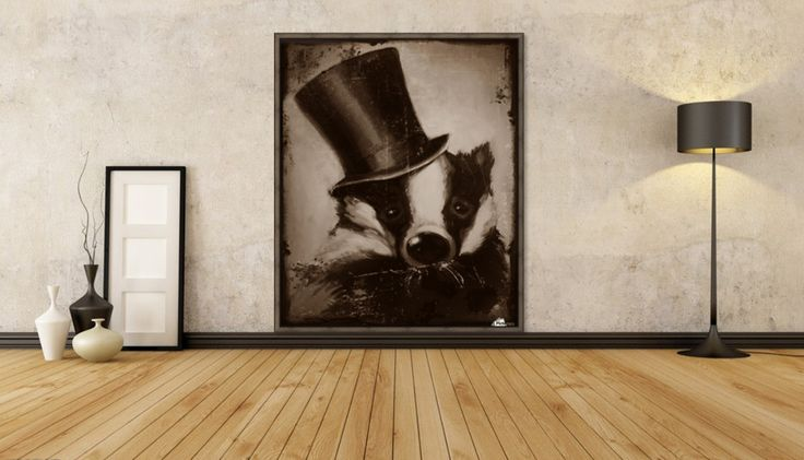 VintageBadger - I firstly painted this badger with silk hat, than I photomanipulated it to a vintage photography style, like a collodion picture.