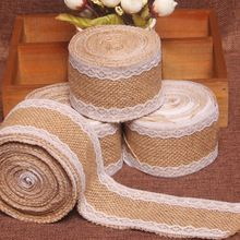2meters Natural Jute Burlap Hessian Ribbon with Lace Trims Tape Rustic Wedding Decor wedding cake topper decoration mariage(China (Mainland))