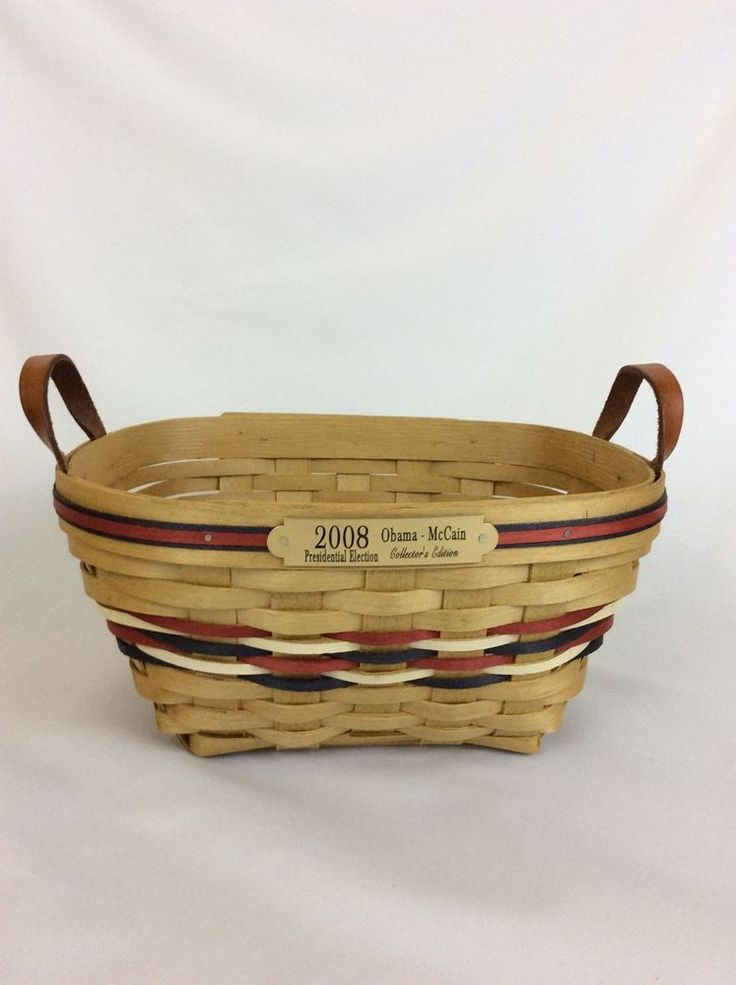 American Traditions Basket 2008 Presidential Election Obama McCain USA Made