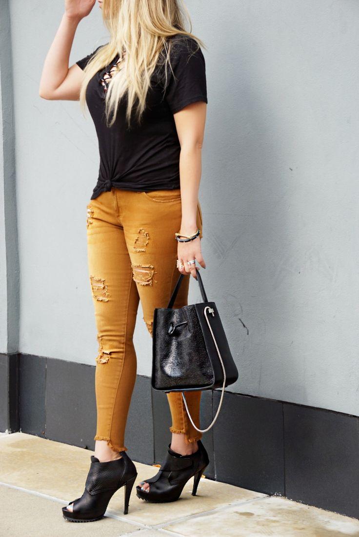 Distressed Colored Denim   STS Blue Jeans | Philip Lim Handbag | Pedro Garcia Booties | Alexis Bittar Bracelet | Nordstrom Laced-up T-shirt | Screw N Lock Bracelet | Lana Jewelry Blake Necklace | Choker
