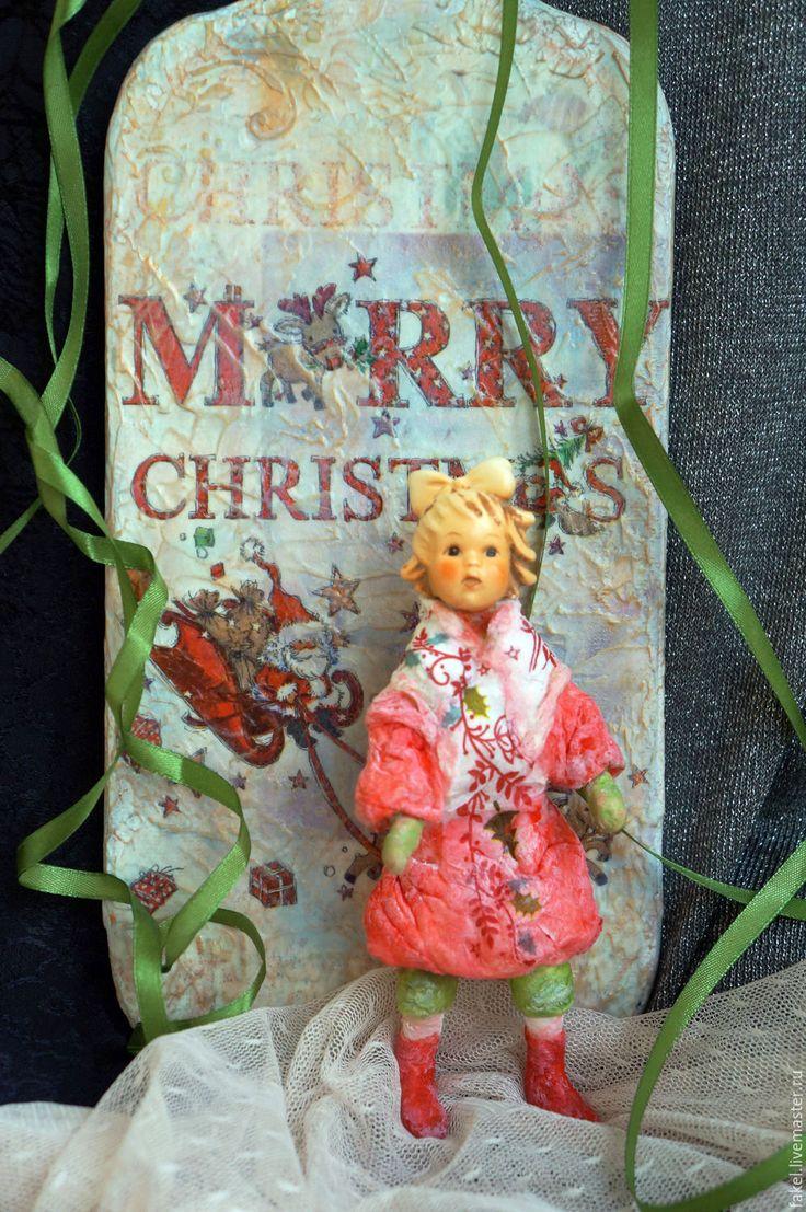 Купить Ватная игрушка с антикварной головушкой - коралловый, ватная игрушка, ватная елочная игрушка