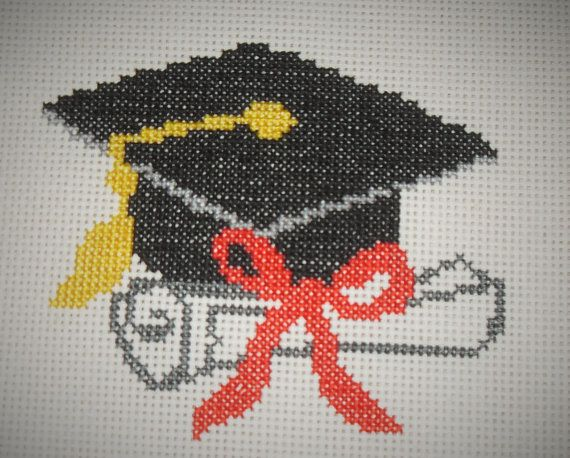 Counted Cross Stitch Pattern PDF graduation cap