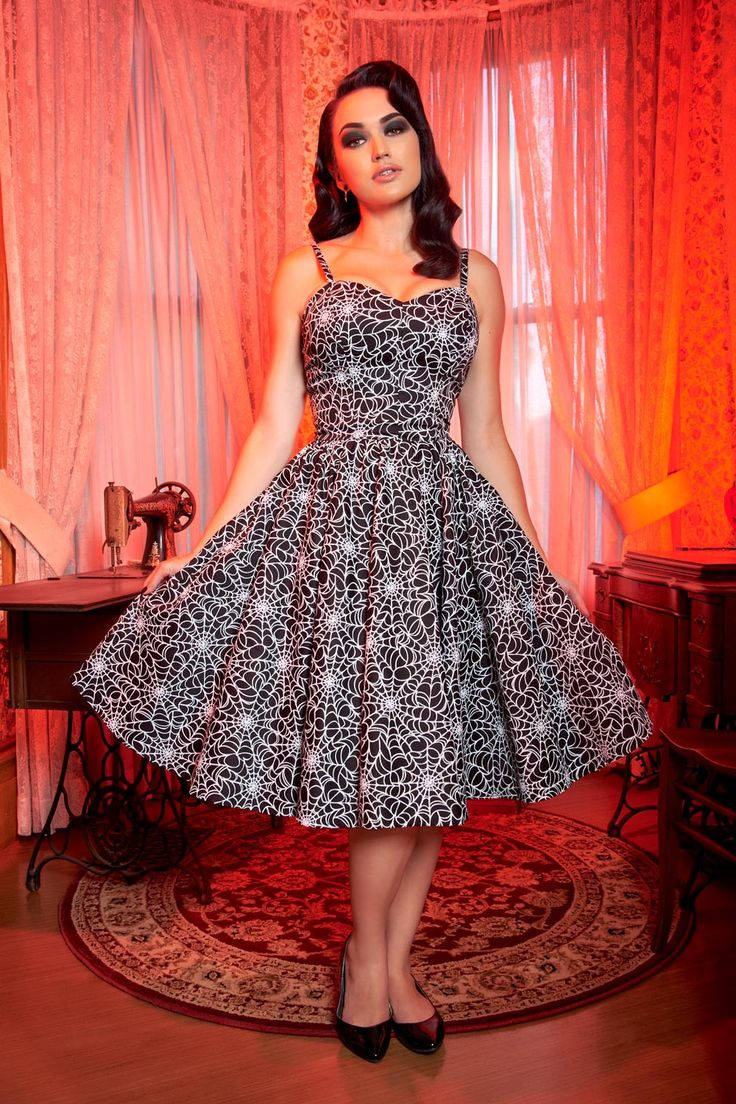 Pinup Couture Audrey Dress in Spider Web Print | Pinup Girl Clothing