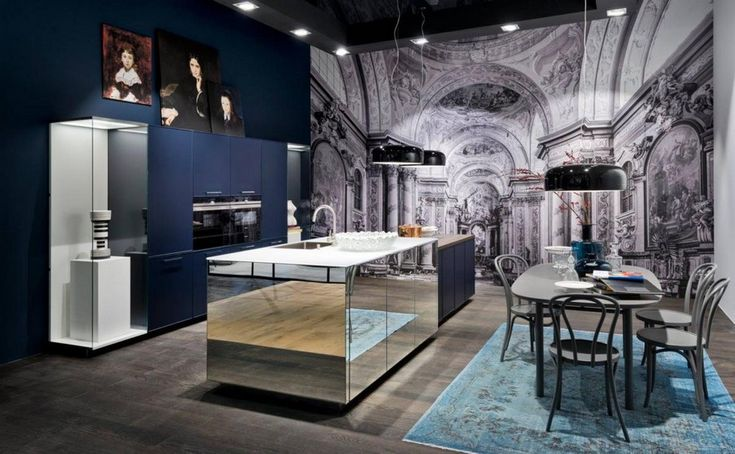 1-3-Nolte-Küchen-kitchen-set-design-at-LivingKitchen-show-in-Cologne-Germany-2017-international-exhibition-blue-and-mirrored-cabinets-finishes
