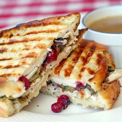 turkey with stuffing and cranberry panini