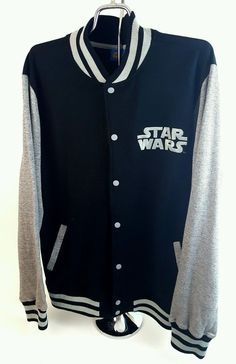 Star Wars Jacket Sweater Varsity Large Mens Black NWT Disney