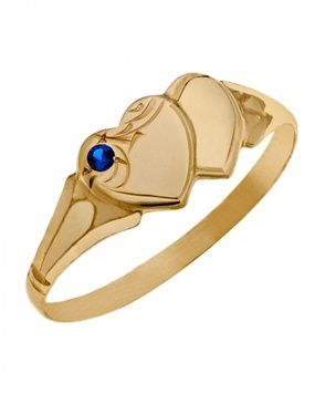 Signet Ring - DOUBLE HEART - Sterling Silver or 9ct Gold