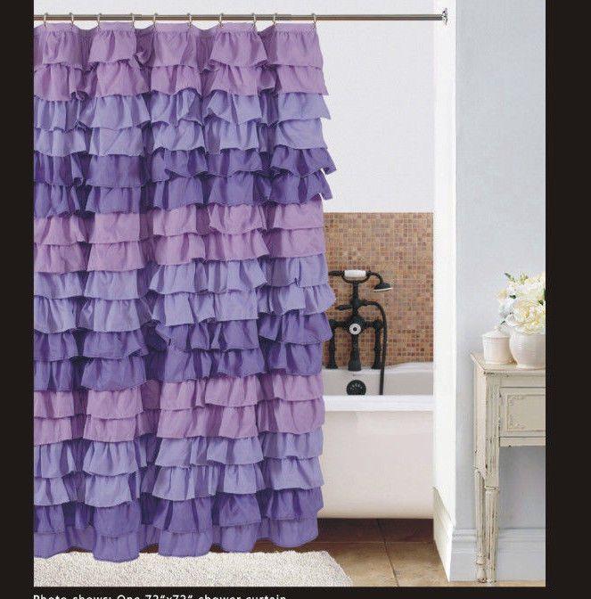 Watterfall Ruffle Fabric Shower Curtain MULTI - COLOR Purple  | Home & Garden, Bath, Shower Curtains | eBay!