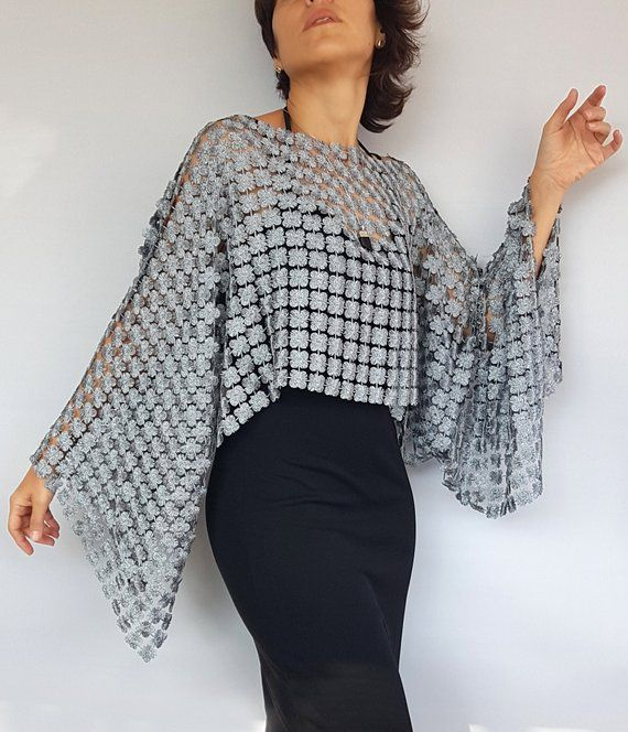 Wedding Shrug Bolero Evening Wear Crochet Bolero Charcoal Grey  Evening Bolero Summer Cover Up Knit /& Crochet Shrug