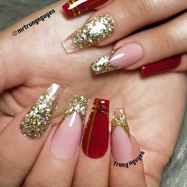 Repost Festive Coffin Nails With Gold Glitter And Red Picture And Nail D Red And Gold Nails Gold Nails Prom Gold Acrylic Nails