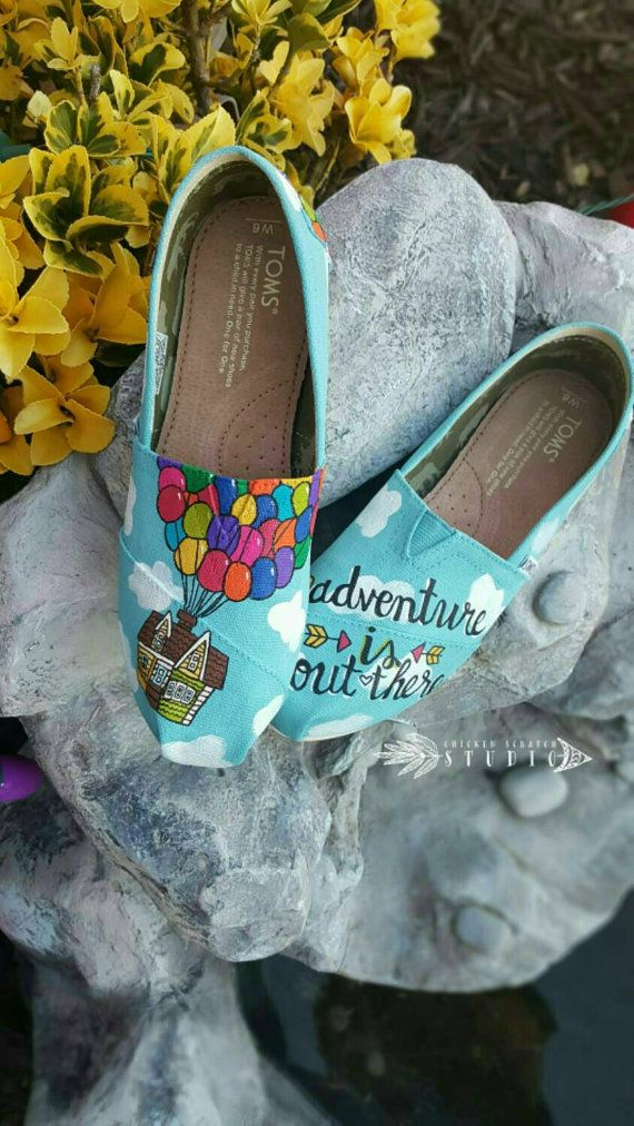 Pixar UP TOMS Custom Hand Painted Canvas Shoes  The entire shoe is painted in a sky scenery. The front of one shoe has Carl and Ellies house go