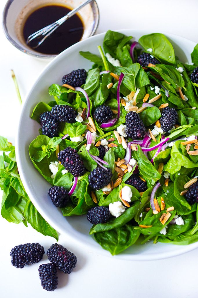 Blackberry Basil Salad - Blackberry, spinach and basil with crumbled goat cheese, and toasted almonds with a simple balsamic vinaigrette.