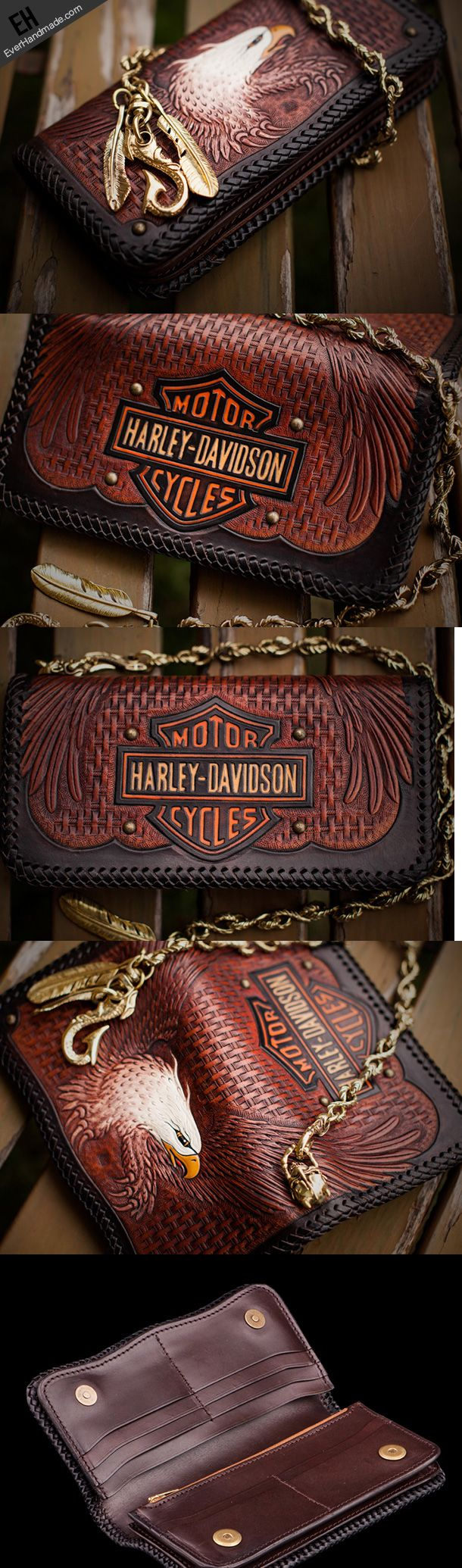 Handmade red brown leather coffee eagle carved biker wallet bifold lon   EverHandmade