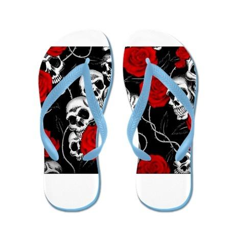 ☆ Skulls and Roses Designs Flip Flops ☆