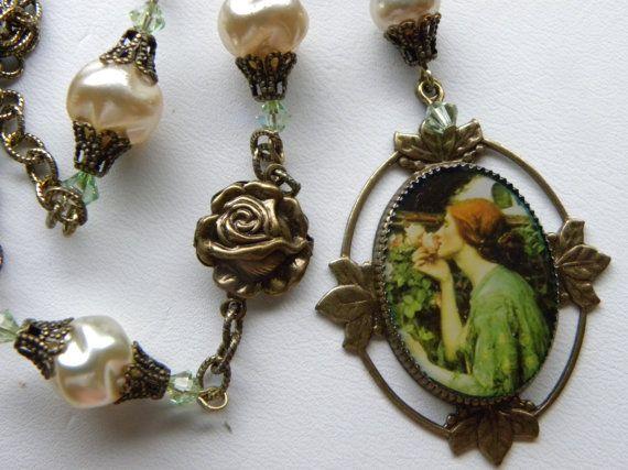 Art Nouveau Necklace John Waterhouse Roses Victorian Pearls