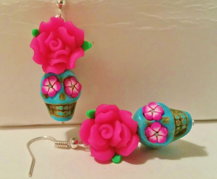 "Turquoise & Pink Rose ""Day of the Dead"" Sugar Skull Earrings. Rockabilly, 2 #Handmade"