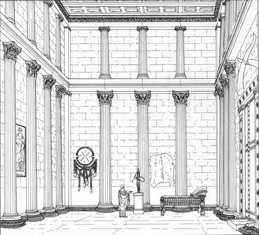 Greek Architecture Drawing reconstruction drawing of inside of temple> athena alea, tegea, 4
