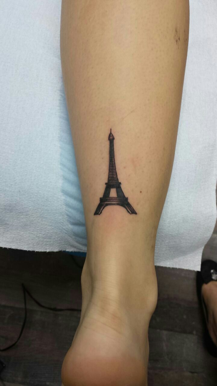 #Tattoo #Small #Leg #Foot #Eiffel Tower #Girl