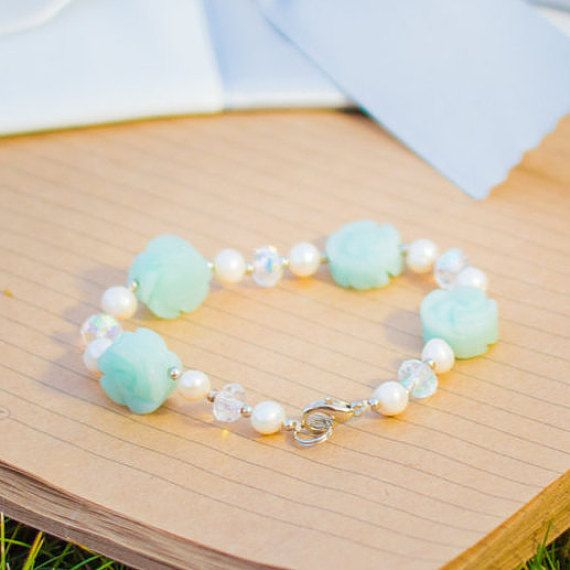 bracelet with natural pearls and amazonite.