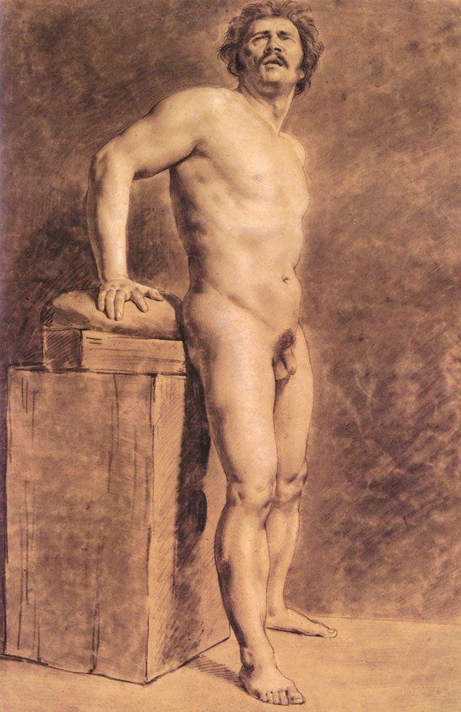 Male Academy Figure - Eugene Delacroix  Art  The Nudes -5379
