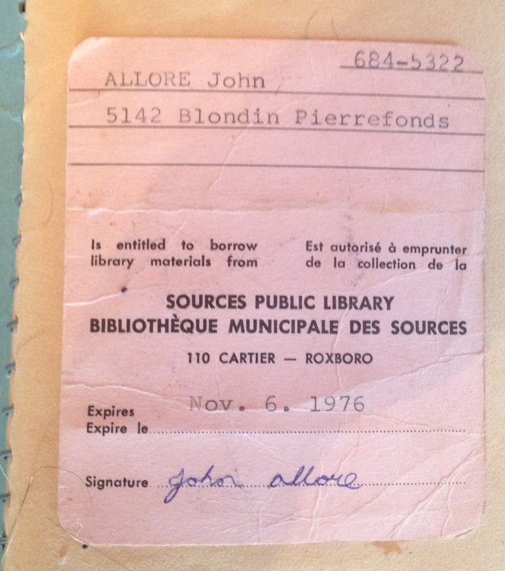 Sources Public Library Card