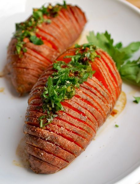 hasselback sweet potatoes seasoned with olive oil and lime juice