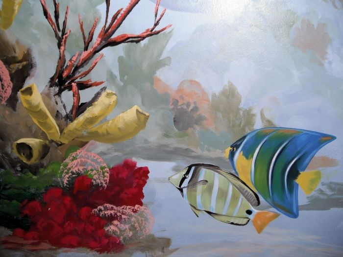 Tropical fish and coral mural idea as seen on www.findamuralist.com