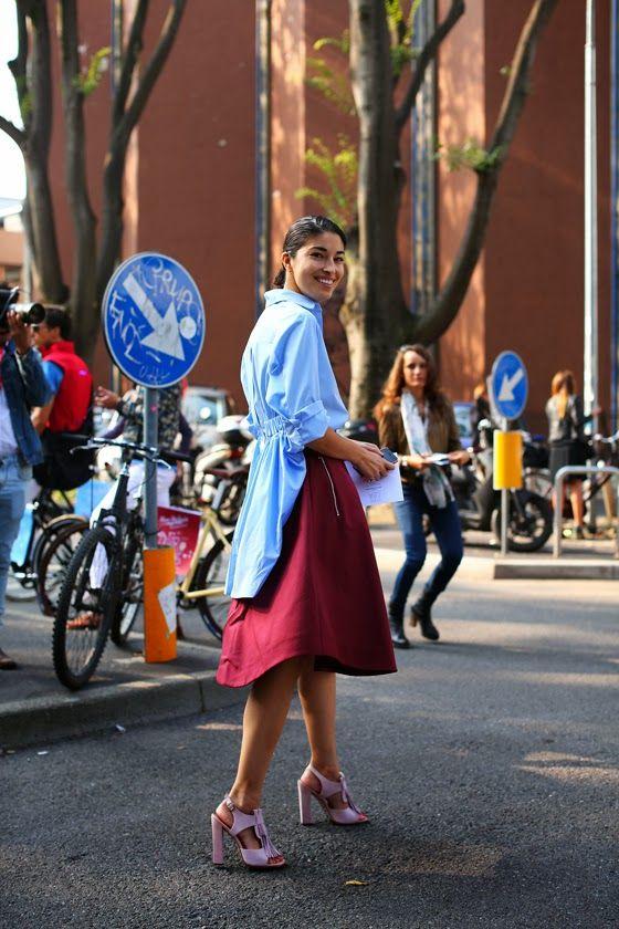 hi-lo shirt, circle skirt, and chunk heel sandals via @Tracy Stewart Dub A&M University McPherson  \\ @dressmeSue pins neat office ideas