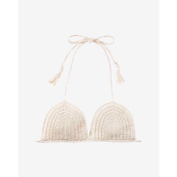 Express Solid Crochet Adjustable Triangle Bikini Swim Top ($40) ❤ liked on Polyvore featuring swimwear, bikinis, bikini tops, white, swim tops, triangle bikinis, triangle bikini top and white triangle bikini