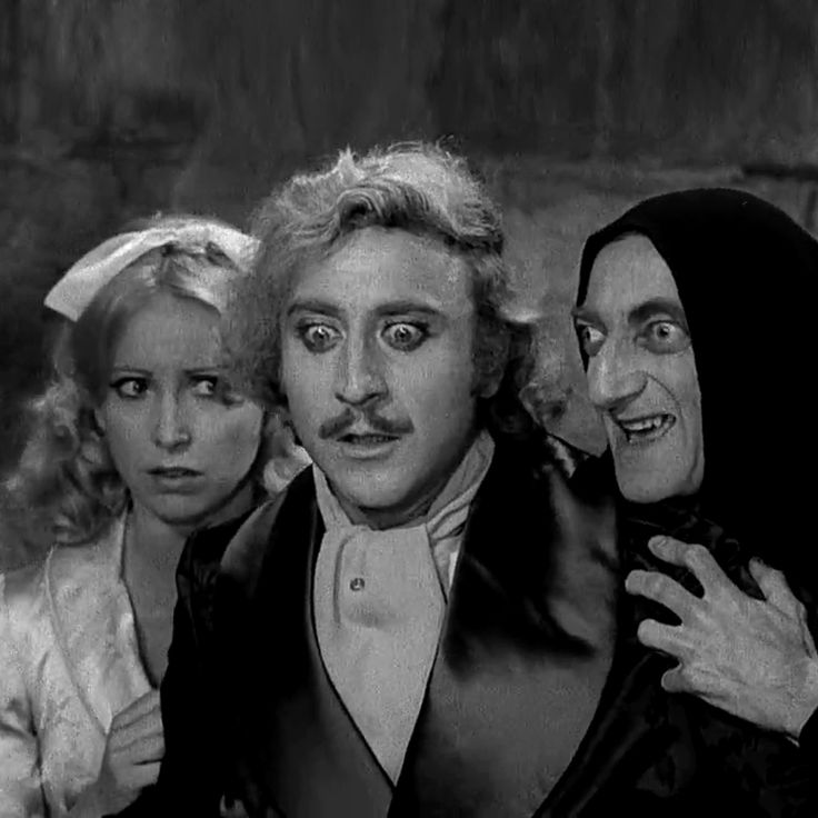 Gene Wilder, Madeline Kahn and Peter Boyle in Young Frankenstein (1974) by Mel Brooks.