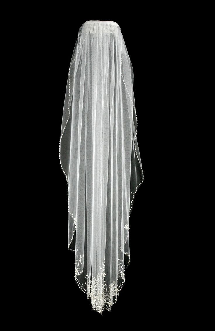 Fingertip Wedding Veil with Heavy Beaded Design