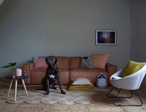 Shopinstijl.nl - Bruine lederen bank met okerkleurige kussens - bekijk en koop de producten van dit beeld op shopinstijl.nl