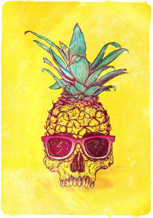 ilustration art pineapple skull yellow background
