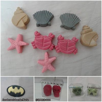 Sabonete de praia, Batman e caveiras! Beach soap, Batman soap and skull soaps!