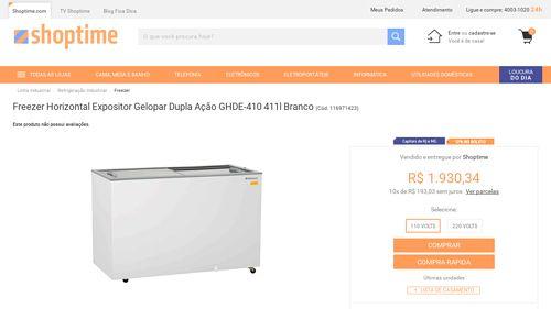 [Shoptime] Freezer Horizontal Expositor Gelopar Dupla Ação GHDE - 410 411l Branco - de R$ 1.814,60 por R$ 1.698,70 (6% de desconto)