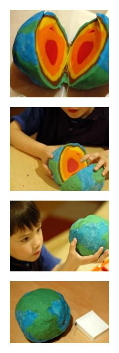 Learning about the Earth's Layers - Just need play dough and dental floss. The best part is cutting to reveal the different colored layers!