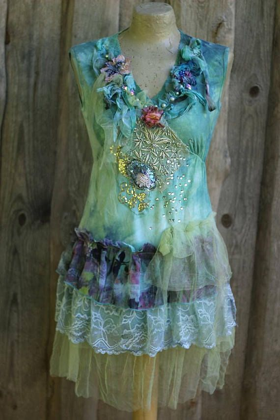 Tenerife top top ot tunic  hand dyed  shabby chic wearable