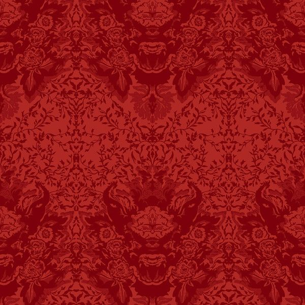 Timorous Beasties Devil Damask Flock Wallpaper - Red On Vermillion ($310) ❤ liked on Polyvore featuring home, home decor, wallpaper, backgrounds, red, pattern wallpaper, metallic wallpaper, red flock wallpaper, flocked damask wallpaper and metallic home decor