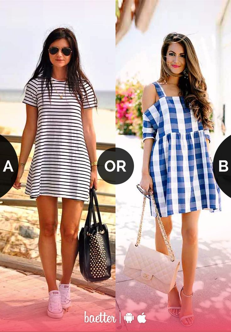 Which printed dress would you rather wear #Striped or #Gingham? Vote on Baetter App