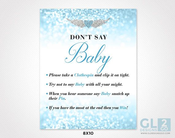 Donu0027t Say Baby Boy Baby Shower Game. 8x10 Printable Game Sign Sparkle Blue,  White U0026 Silver Clothespin Game. Heart Halo Wings. Heaven Sent