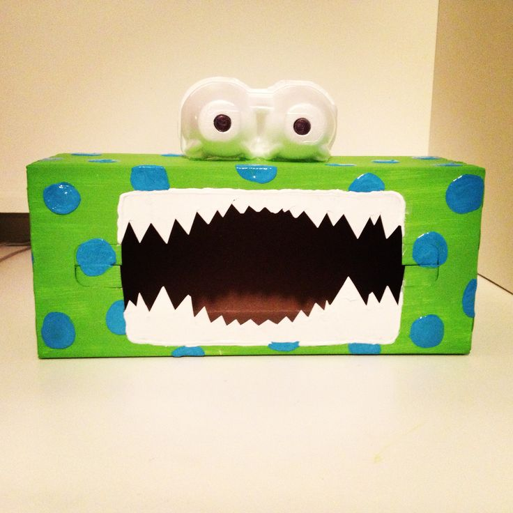 """I created this tattle monster for my second grade classroom. Students will tell their """"tattles"""" to the tattle monster by writing them on a piece of paper and putting it through the mouth. This will take away from students always wanting to tell me. The monster is made out of a tissue box and a piece of an egg carton."""