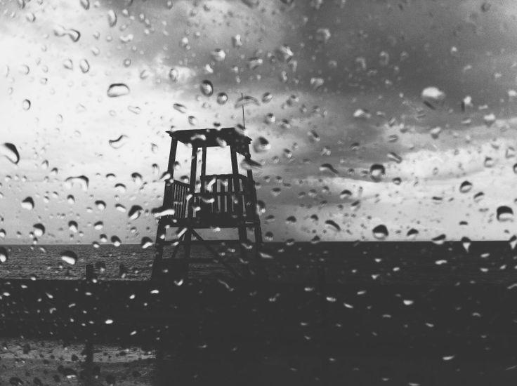 Rain #365daysaugust #rain #blackandwhite #seascape #greece