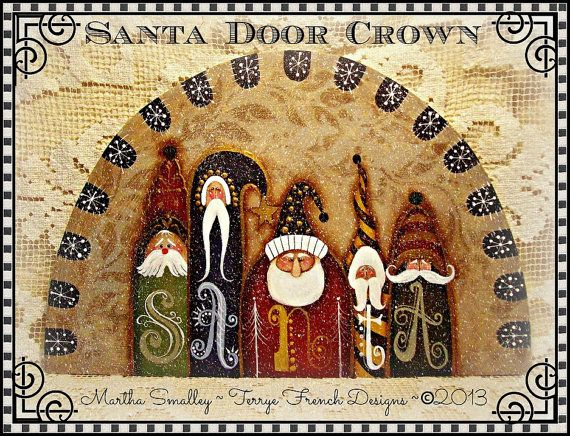 Painting With Friends E Pattern - Santa Door Crown - Painted by Martha Smalley