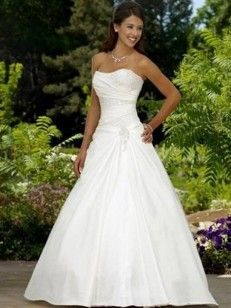 Strapless Applique Sweep/Brush Train Elastic Woven Satin Wedding Dresses