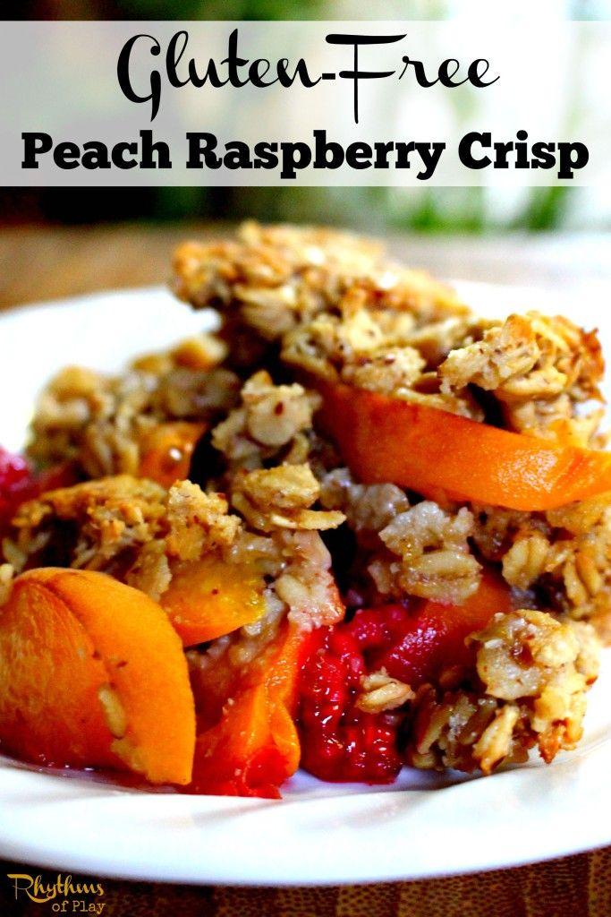 Gluten-free peach raspberry crisp recipe. Serve warm right out of the ...