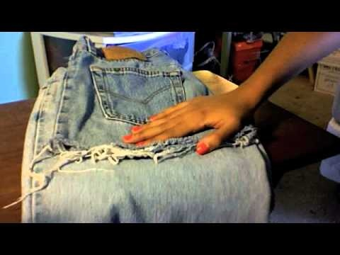 I found the best video for DIY distressed shorts! just buy some old pants from a thrift store and start cutting!!