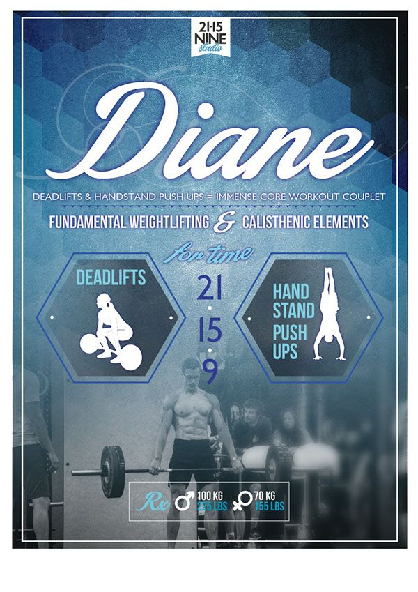 """The first series of WOD Posters designed for 21.15.NINE Studio, featuring Fran, Angie, Chelsea, Barbara, Diane and Elizabeth - the infamous collection of WOD's know as """"The Girls""""."""